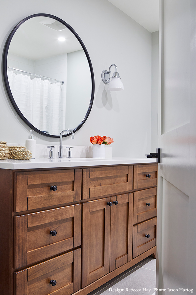 Bathroom with black accents