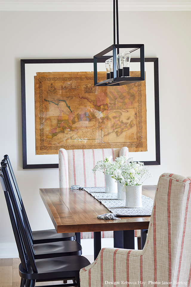Dining room with black accents